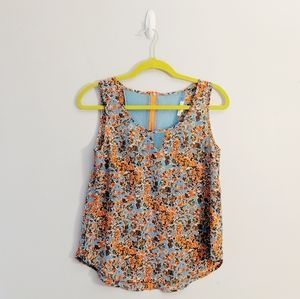 3/$25 Mine Mesh Exposed Zipper Floral Tank Top
